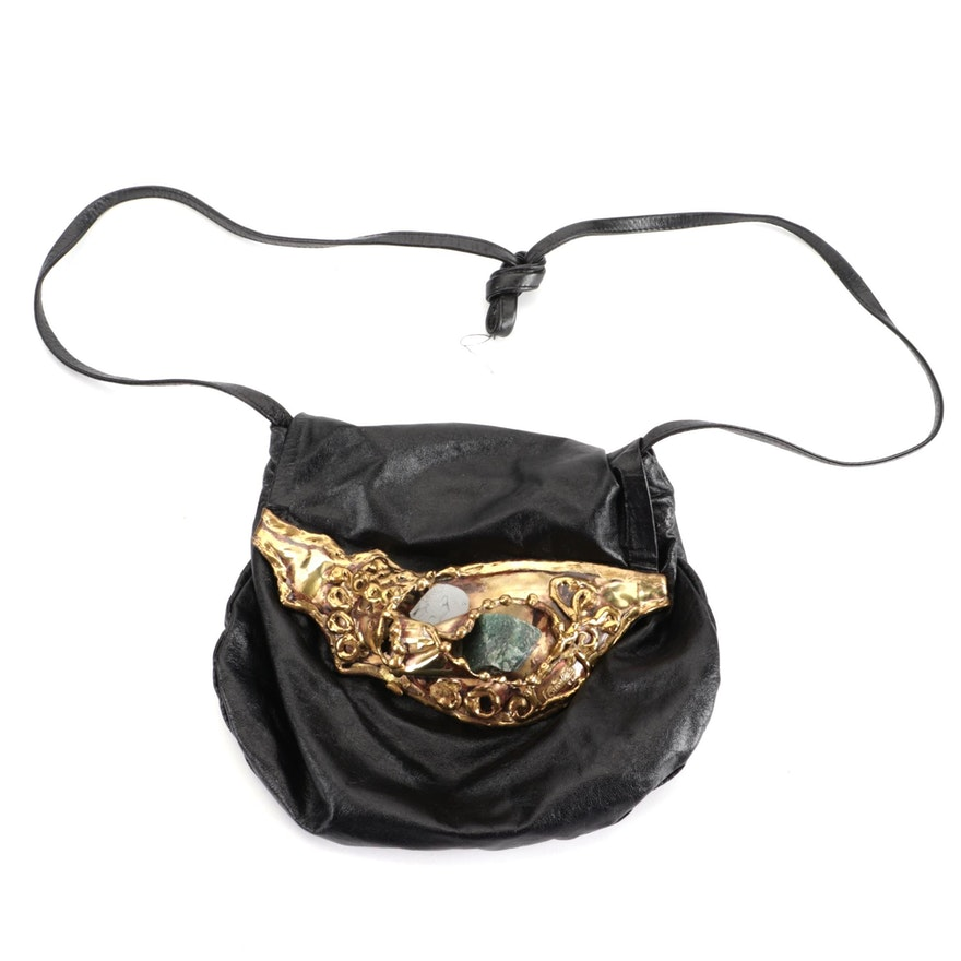 Carvalhu's Brutalist Brass and Leather Flap Bag with Raw Amethyst and Aventurine