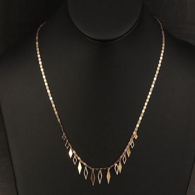 14K Fancy Link Fringe Necklace