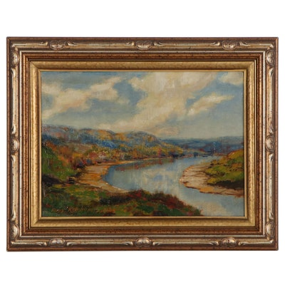 Rosa Ketchum Landscape Oil Painting of Mountains and River, 1934