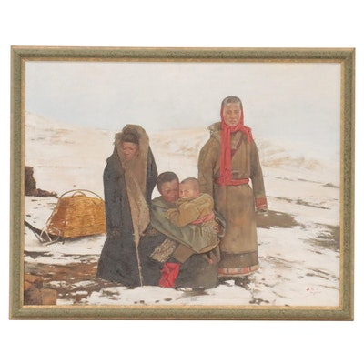 "Ma Yuan Tibetan Family Portrait Oil Painting ""Snowy Pasture,"" 1992"