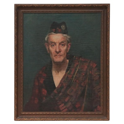 Oil Painting of Man in Scottish Tartan in the Style of Roderick MacKenzie