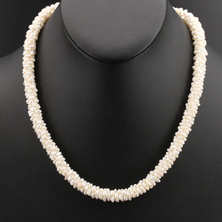 Pearl Beaded Necklace with Sterling Cubic Zirconia Infinity Closure