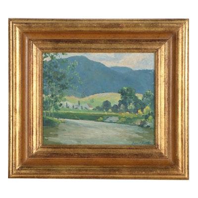 """Grace M. Bartle Landscape Oil Painting """"On the Ten Mile River"""""""