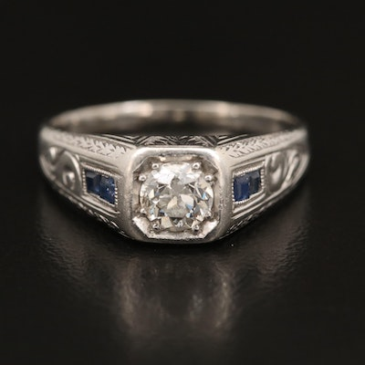 Edwardian 14K Diamond and Sapphire Ring with Platinum Top