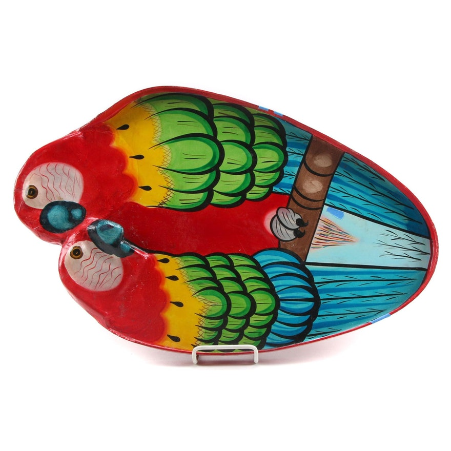 Signed Hand-Painted Parrot Motif Wood and Papier-Mâché Tray