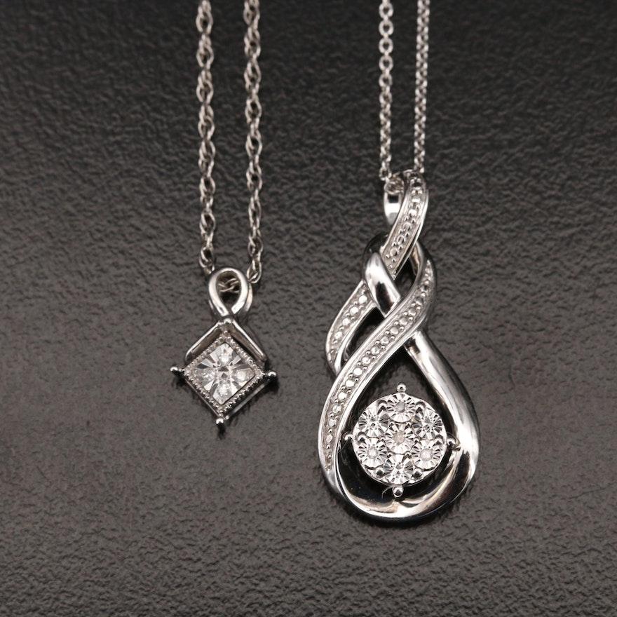 Sterling Diamond Pendant Necklaces