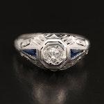 Edwardian 18K Diamond and Sapphire Ring