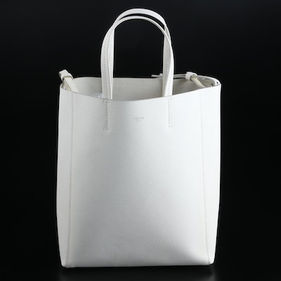 Céline Small Vertical Cabas Tote Bag in Ivory Grained Calfskin Leather