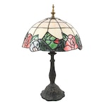 Rose Border Slag Glass Overlay Table Lamp with Cast Metal Base