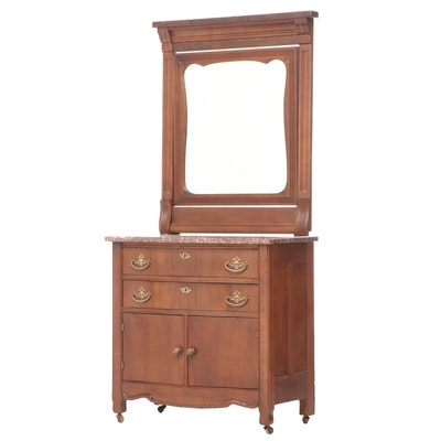 Victorian Walnut and Rouge Marble Mirror-Back Washstand, Late 19th Century