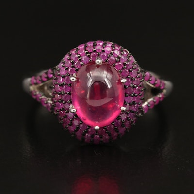 Sterling Silver Ruby and Corundum Ring