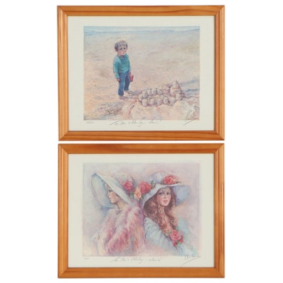 Mary Vickers Figurative Offset Lithographs