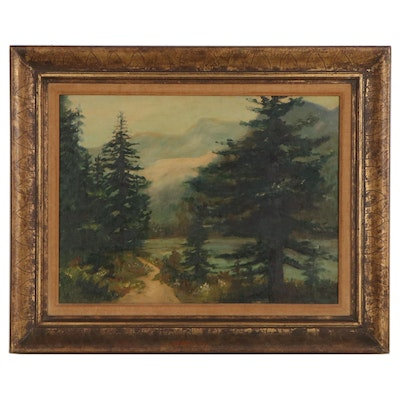 Mabelle Resnick Mountain Landscape Oil Painting, Circa 1965