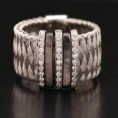 """Roberto Coin """"Silk Weave"""" 18K Diamond and Mother of Pearl Band"""