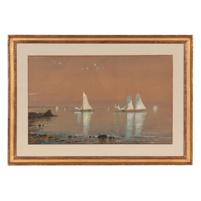 """Edmund Darch Lewis Watercolor Painting """"Sailing Crafts in Bay,"""" 1881"""