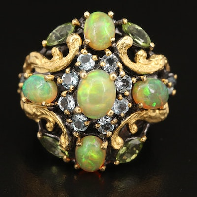 Sterling Opal, Peridot and Topaz Ring