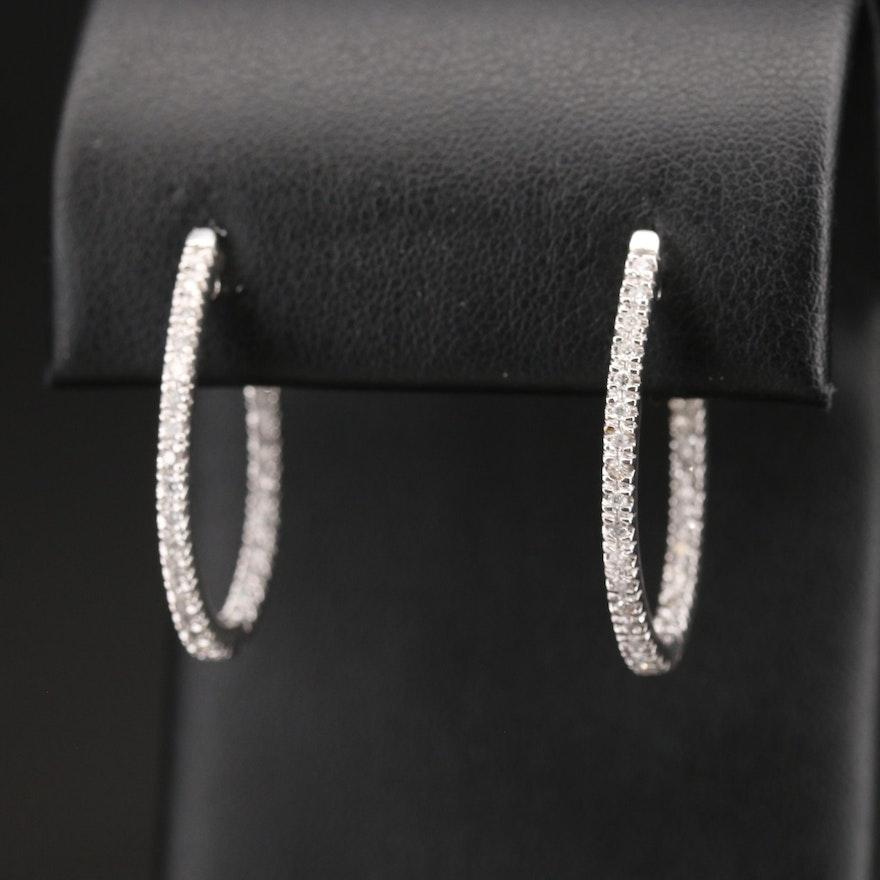 10K Diamond Inside-Out Oval Hoop Earrings