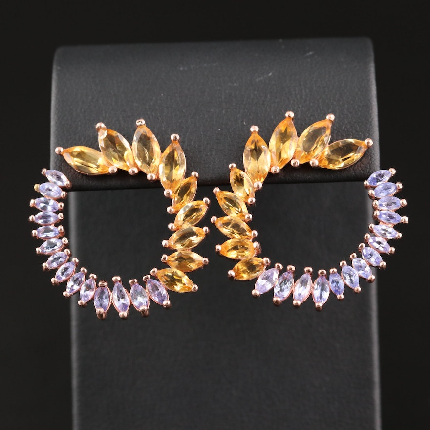 Sterling Citrine and Tanzanite Graduated Earrings