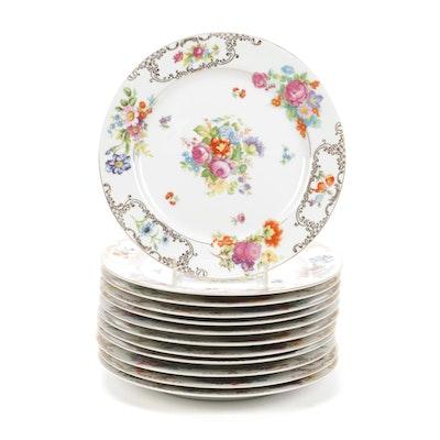 "Kongo of Japan ""Romance"" Hand-Painted Porcelain Dinner Plates"