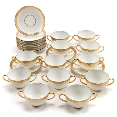 GDA Limoges Gilt Encrusted Porcelain Cream Soup Cups and Saucers