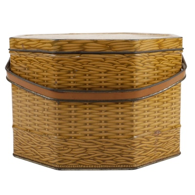 Loose-Wiles Biscuit Company Metal Basket Shaped Biscuit Box, Early-Mid 20th C.
