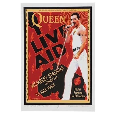 """David Edward Byrd Giclée """"Queen & Freddie Mercury at Live Aid London 1985,"""" 2021"""