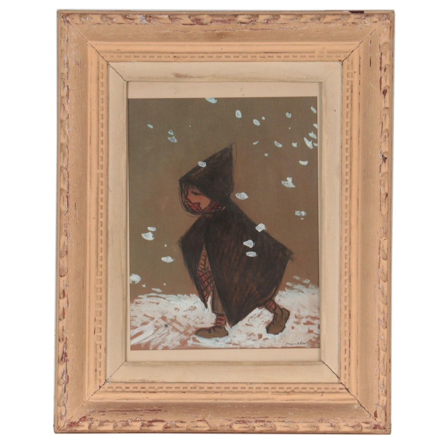 Charcoal and Gouache Drawing of Child in Cape, Circa 1911