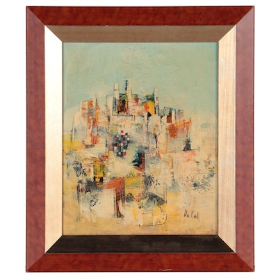 Walter Da Col Abstract Cityscape Oil Painting