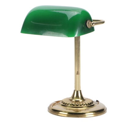 Art Deco Style Brass Bankers Desk Lamp with Green Glass Shade, Late 20th C