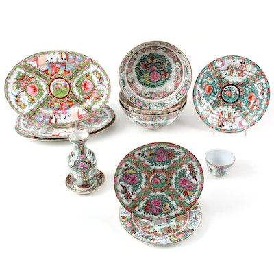 Japanese and Chinese Famille Rose and Rose Medallion Porcelain Tableware