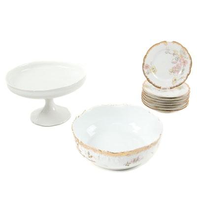 E. Bourgeois Porcelain Compote, Limoges Bowl and D&C Limoges Dessert Plates