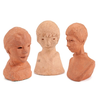 Abstract Ceramic Busts of Male Figures