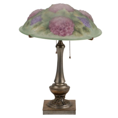 Pairpoint Brass Lamp with Reverse Painted Hydrangeas Puffy Glass Shade