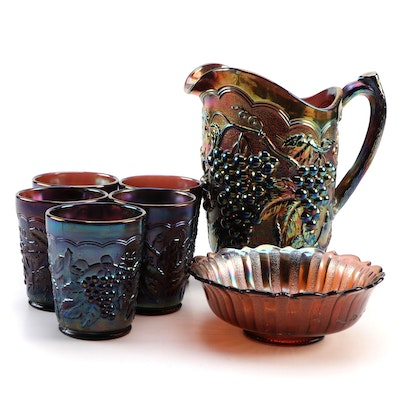 Imperial Amethyst Carnival Glass Pitcher and Tumblers, Fenton Marigold Bowl