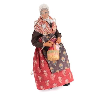 Folk Art Style Elderly Lady Doll Knitting with Basket