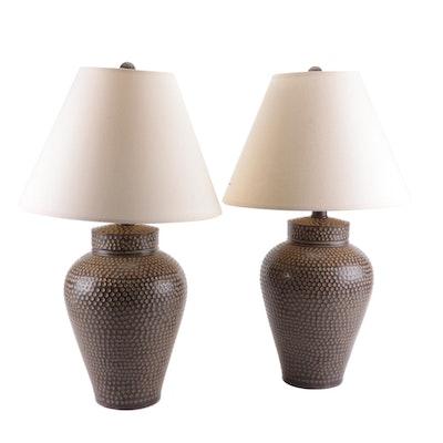 Brown Dot Embossed Resin Table Lamps