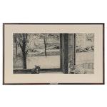 "Peter Winslow Milton Etching ""Esme's October Window,"" 1965"