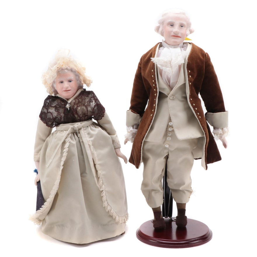 George and Martha Washington Porcelain Portrait Dolls on Display Stands