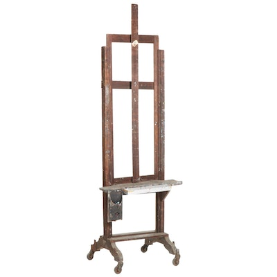 Wooden Artist's Easel from the Studio of Roman E. Johnson, Mid-20th Century