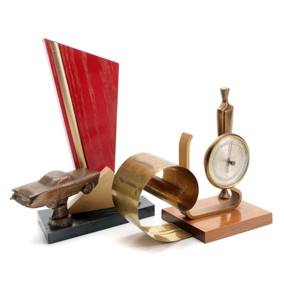 Taylor Art Deco Stormoguide Barometer with Poldon Car Trophy