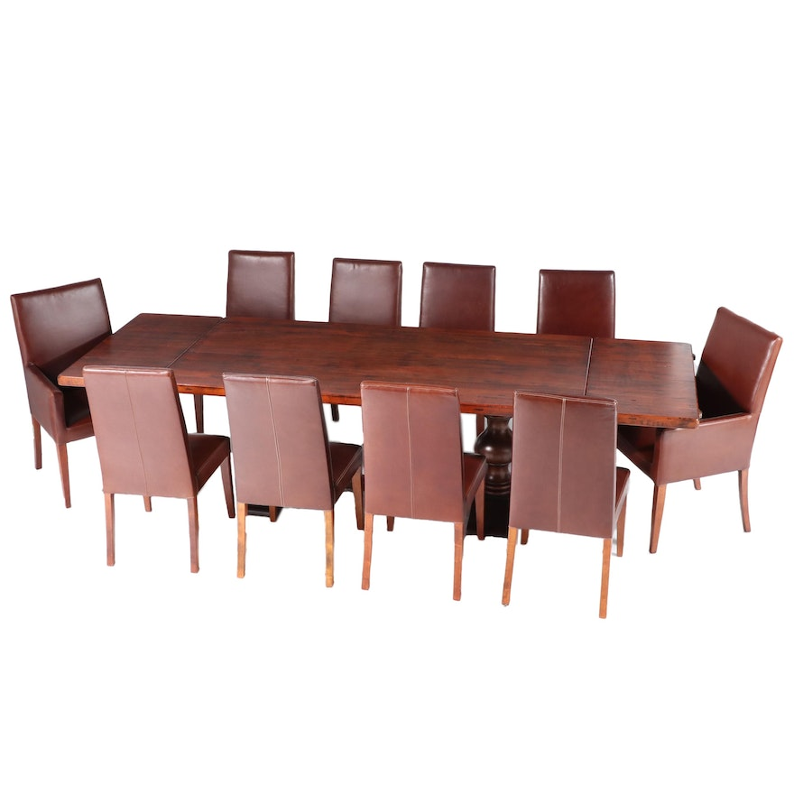 Arhaus Tuscany Extension Dining Table with Pottery Barn Dining Chairs
