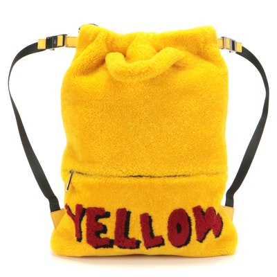 Fendi Vocabulary Tote Backpack Bag 7VZ034 in Yellow Dyed Shearling Fur