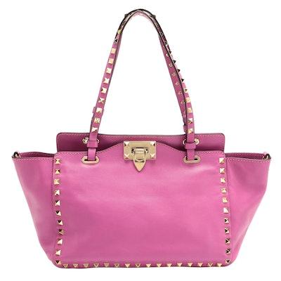 Valentino Rockstud Small Trapeze Tote in Fuchsia Pink Leather