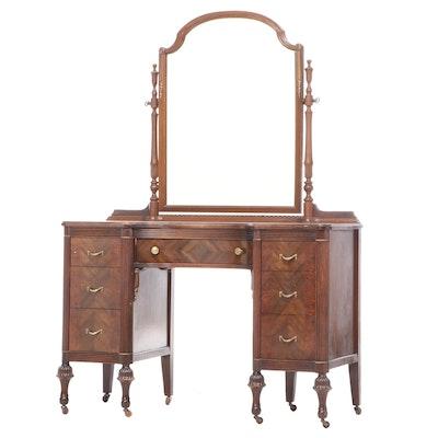 Marvel Furniture Co. Walnut, Burlwood, and Parcel-Gilt Vanity Table, circa 1930