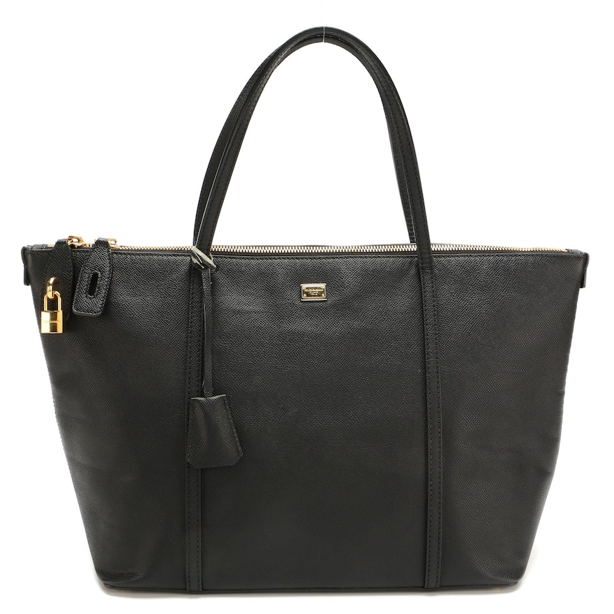 Dolce & Gabbana Miss Escape Tote in Black Grained Leather