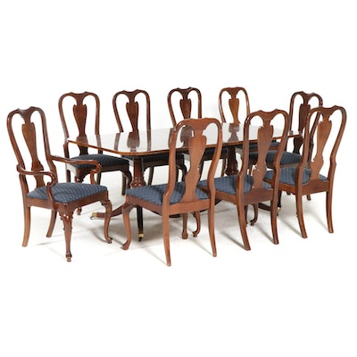 Ten-Piece Queen Anne and Classical Style Mahogany-Stained Dining Set
