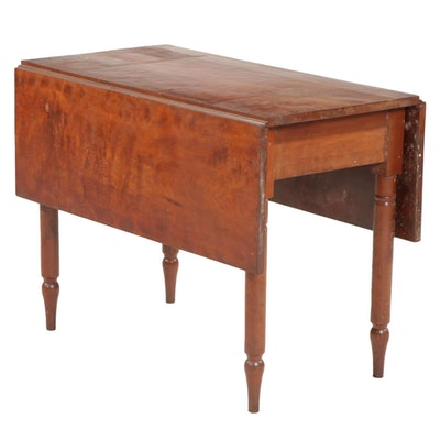 American Primitive Cherry Drop-Leaf Dining Table, 19th Century
