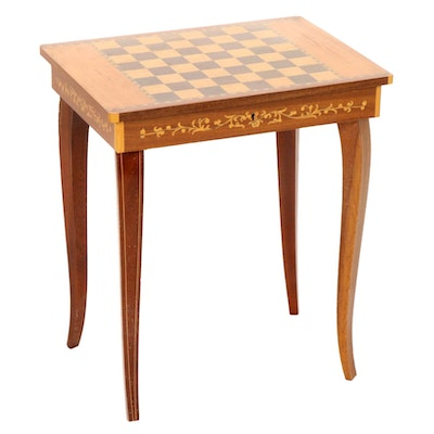 Italian Marquetry Music Box Lift-Lid Side Table