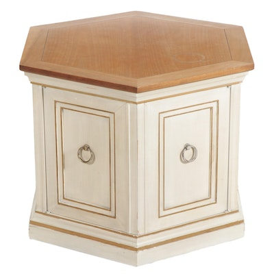 Hexagonal Storage Cabinet Side Table, Mid to Late 20th Century