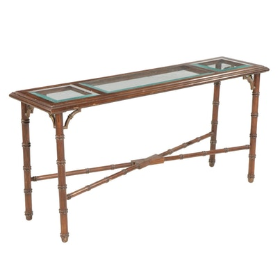 Glass Top and Bamboo-Turned Wood Console Table, Mid to Late 20th Century